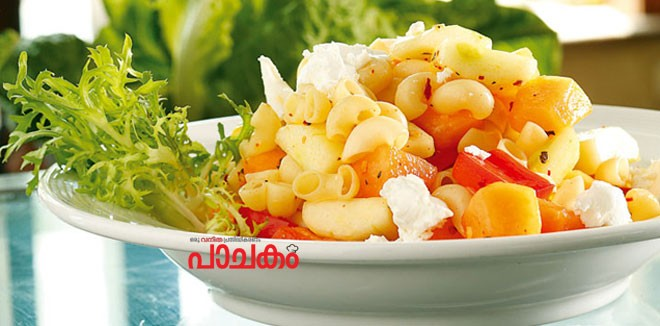 Pasta-salad-with-melon-and-feta-cheese